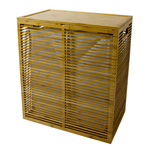 InThiSPACE Open Slats Bamboo Hamper Plus Lid with Removable Canvas Liner