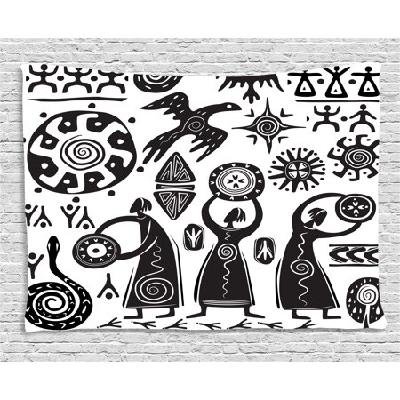 Primitive Decor Tapestry, Shaman Eagle Sun Snake Figure Prehistoric Cave Drawing Tribal Folkloric, Wall Hanging for Bedroom Living Room Dorm Decor, 60W X 40L Inches, Black White, by (Tribal Sun Eagle)