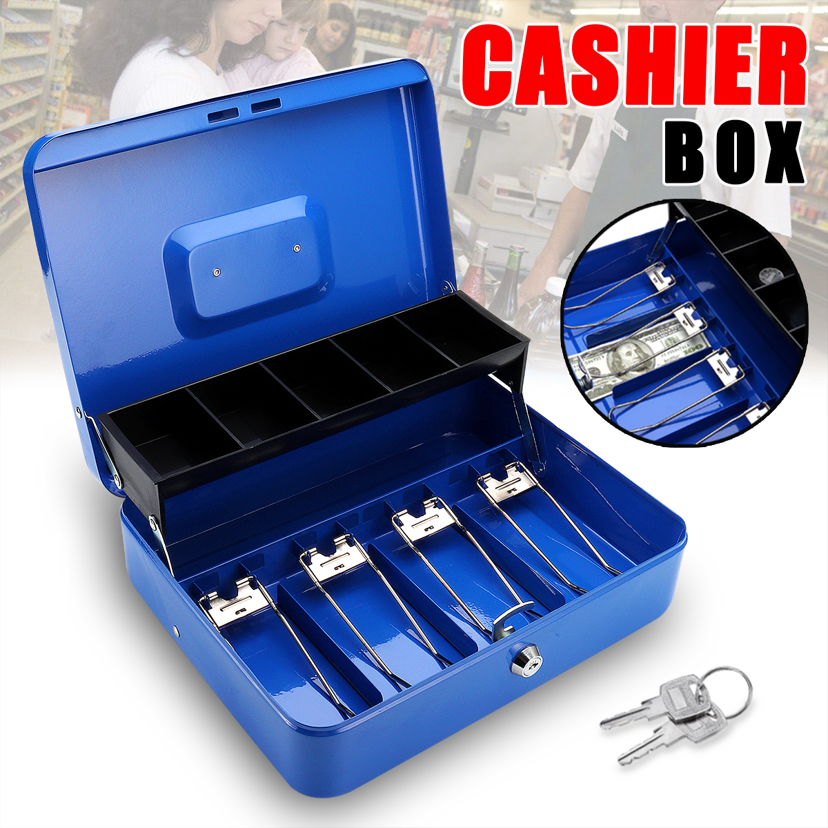 """12"""" 4 Bills 5 Coins Portable Security Lock Cash Box Tiered Tray Money Drawer Storage Works Compatible... by"""