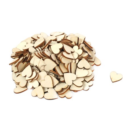 Family Wooden Love Heart Shaped Decor DIY Handcraft Slice Beige 2 x 2cm 200pcs](Wood Tree Slices)