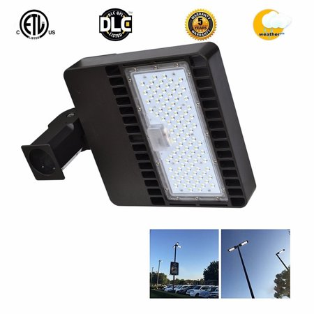 Ainfox 100W LED Street Light Sport Court Commercial Parking Lot Lights Pole LED Outdoor Site and Area Light Shoe Box 33000L,4800-5300k,ROHS ETL DLC CE?5years Warranty