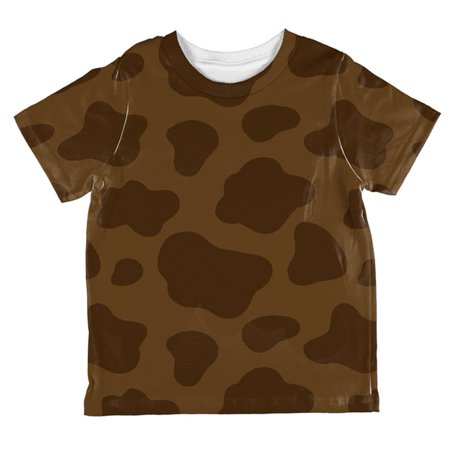 Halloween Brown Chocolate Milk Cow Costume All Over Toddler T Shirt - Toddler Cow Halloween Costumes