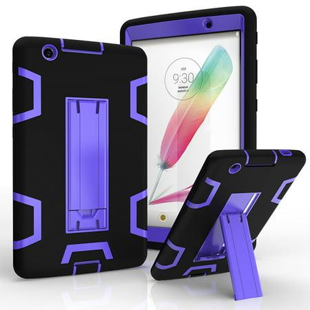 Padded Hard Case (LG G Pad 3 8.0 / V525 V522 V521 V520 Shockproof Duty Hard Stand Case Cover Black Purple +Tempered Glass Screen Protector )