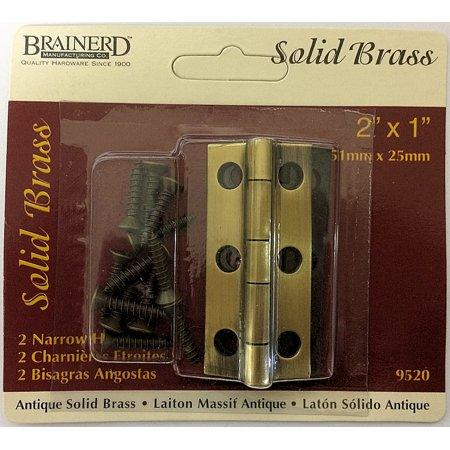 - (10 Pack) Pair of Solid Brass Narrow butt Hinge 2