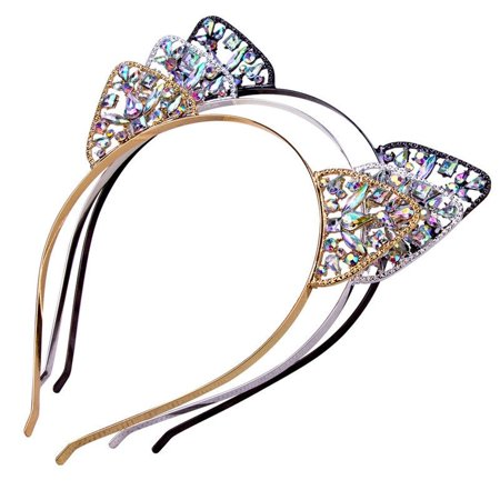 Cute Child Girls Metal Rhinestone Cat Ear Headband Hair band Costume Party Cosplay ()