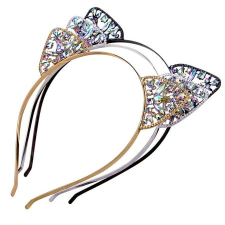 Cute Child Girls Metal Rhinestone Cat Ear Headband Hair band Costume Party Cosplay (White Cat Ears Costume)