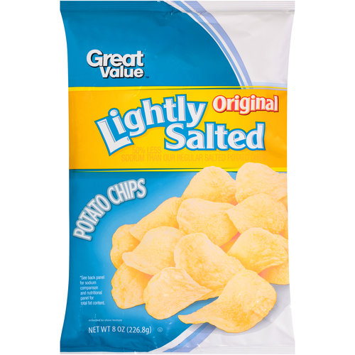 Great Value Lightly Salted Original Potato Chips, 8 oz