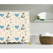 Kids Decor Mermaid Balloon Fish Hearts Sea Objects Bathroom Accessories 69w X 84l Inches