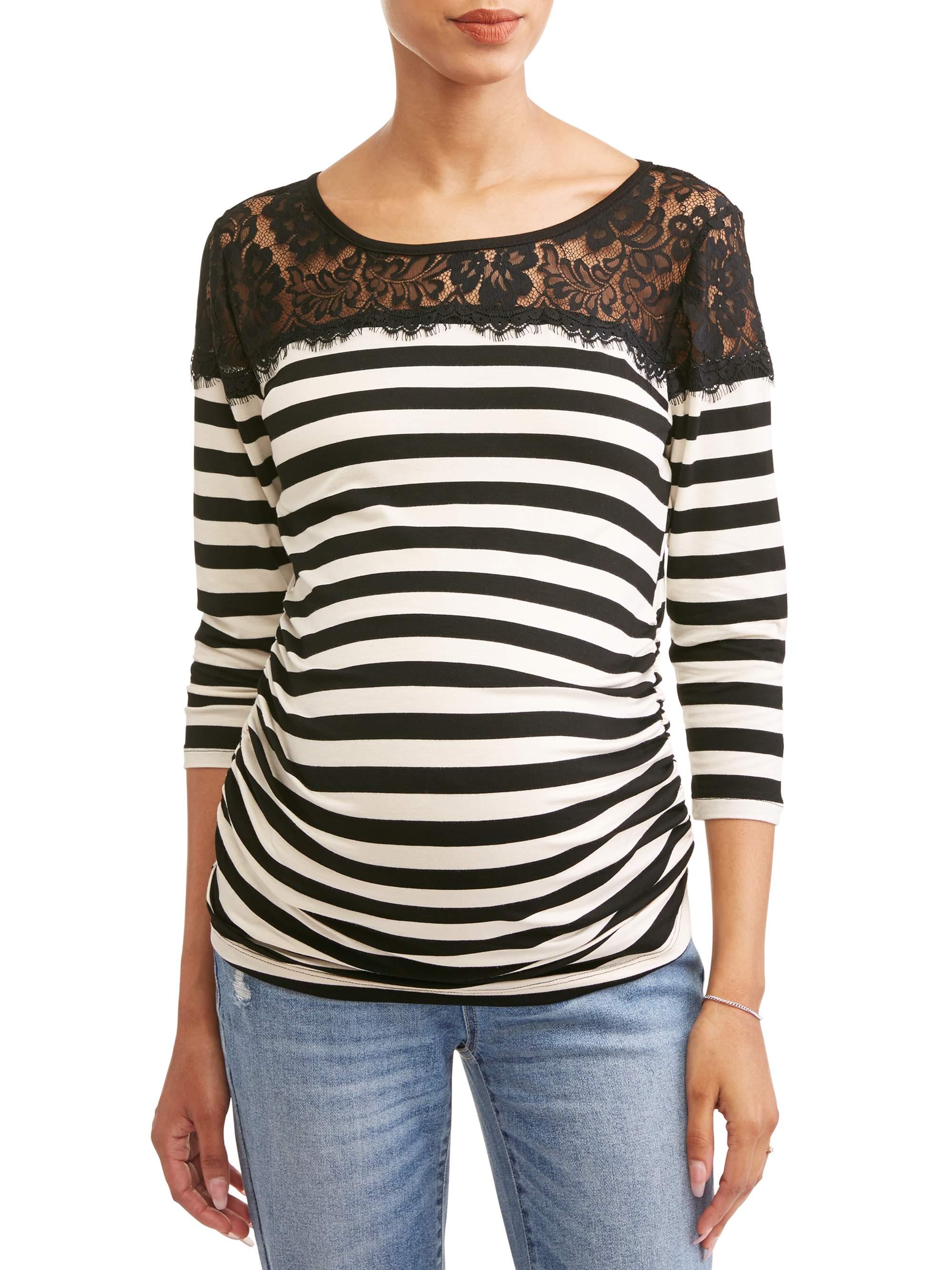 Maternity Stripe with Lace Yoke Top