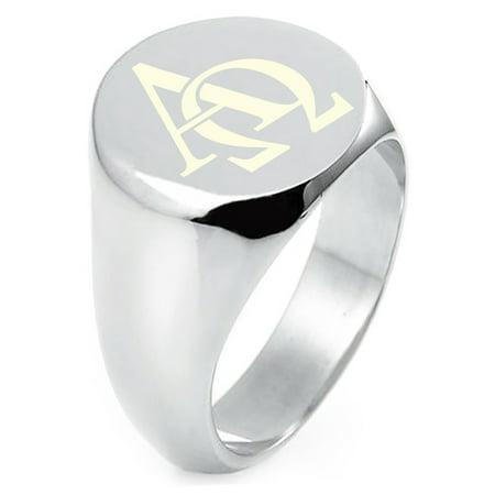 Sterling Silver Alpha & Omega Symbol Engraved Round Flat Top Polished Ring