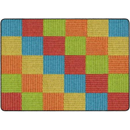 Flagship Carpets FA1009-32FS 6 x 8 ft. 4 Cozy Basketweave Blocks Classroom Rug, Multicolor - Rectangle](Classroom Rugs Cheap)