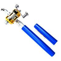 "Telescopic Mini Fishing Rod - Aluminum Alloy ""Pen"" Shape Fishing Rod with Bait casting Reel - Portable Pocket Size - Ideal for Freshwater / Rock / Ice / Pond Fishing"