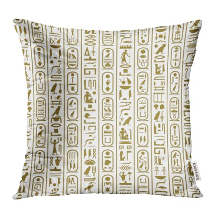 Egyptian Cartouche Papyrus Painting (ARHOME Cartouche Ancient Egyptian Writing Egypt Letter Papyrus Pharaoh Symbol Africa Ankh Pillow Case Pillow Cover 18x18 inch Throw Pillow Covers)