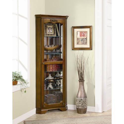 Coaster Company Corner Curio Cabinet, Golden Brown by Coaster Company