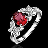 New Arrival 925 Silver Beautiful Ruby Diamond Fashion Band Ring for Women Lady Lovers(Q) (Ruby July Birthstone Womens Ring)