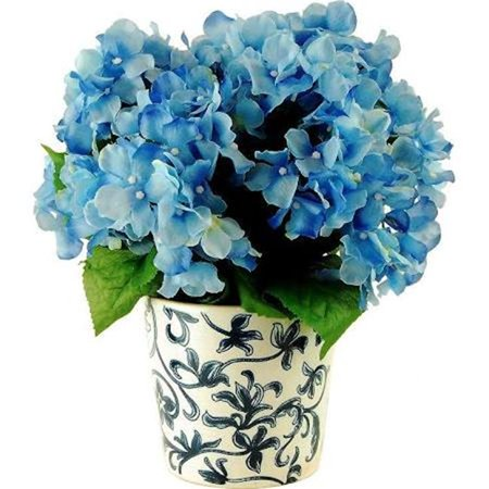 Designs by Lauren 16F25 14 in. Hydrangeas in a French Blue Ceramic Vase - image 1 de 1