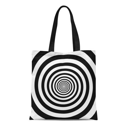 LADDKE Canvas Tote Bag Hypnotic Circles Abstract Optical Spiral Swirl Hypnotize Circular Pattern Reusable Shoulder Grocery Shopping Bags Handbag - Hypnotizing Swirl