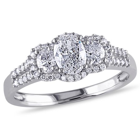 IGI Certified 1.00 Carat (ctw Color G-H Clarity I1-I2) Three Stone Diamond Engagement Ring 14K White Gold - image 5 de 5