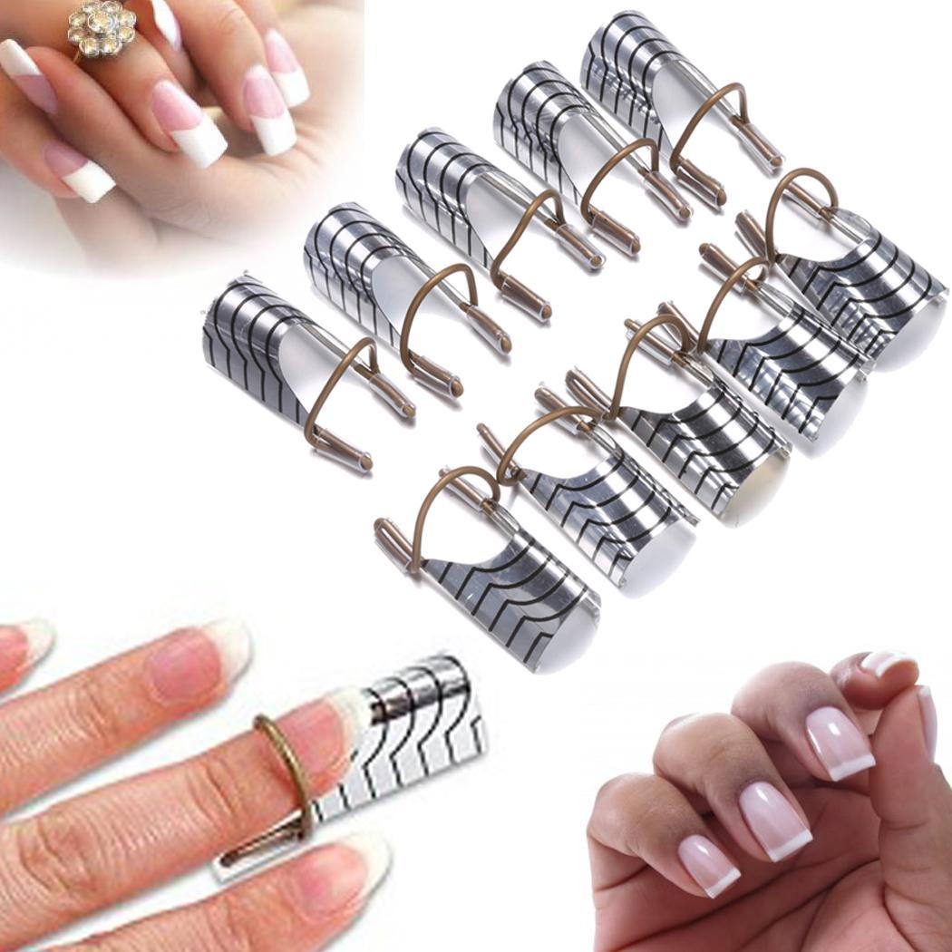 New 10PCS Reusable UV Gel Acrylic Tips Nail Art Extension Guide Form Tool