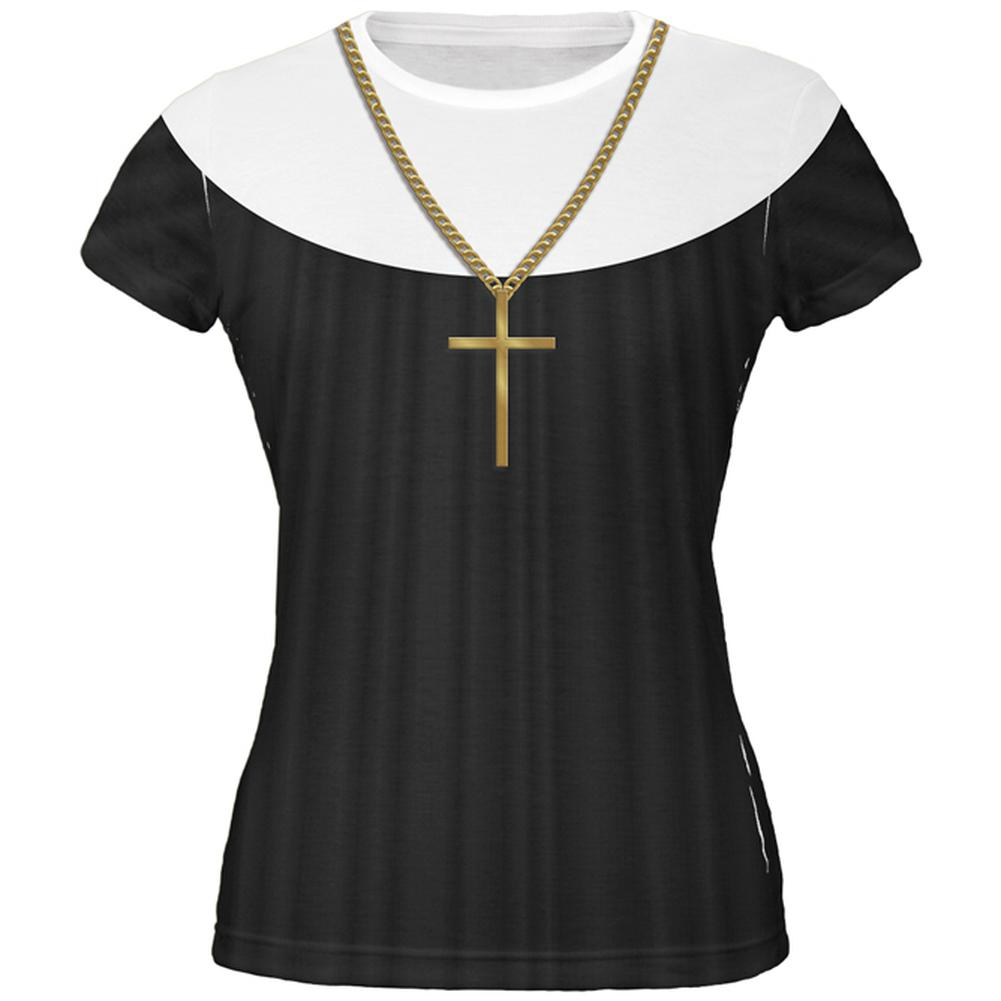 Nun Habit Costume All Over Juniors T-Shirt