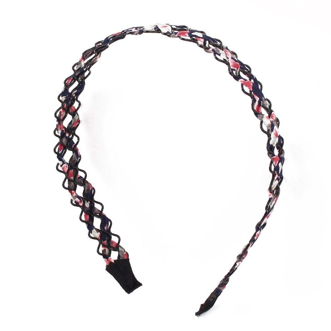 Unique BargainsWoman Lady Fabric Overlapped Braided Pattern Broadside Headband Hair Hoop