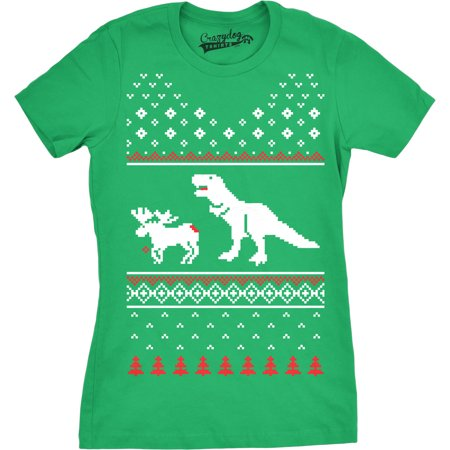 Female Moose - Womens T-Rex Attack Moose Ugly Sweater T Shirt Christmas Women