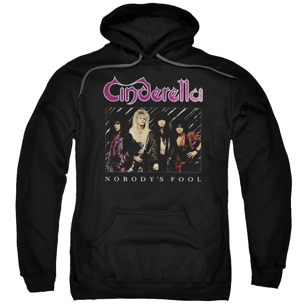 Trevco Cinderella Nobodys Fool  Adult Pull Over Hoodie  Black  3X