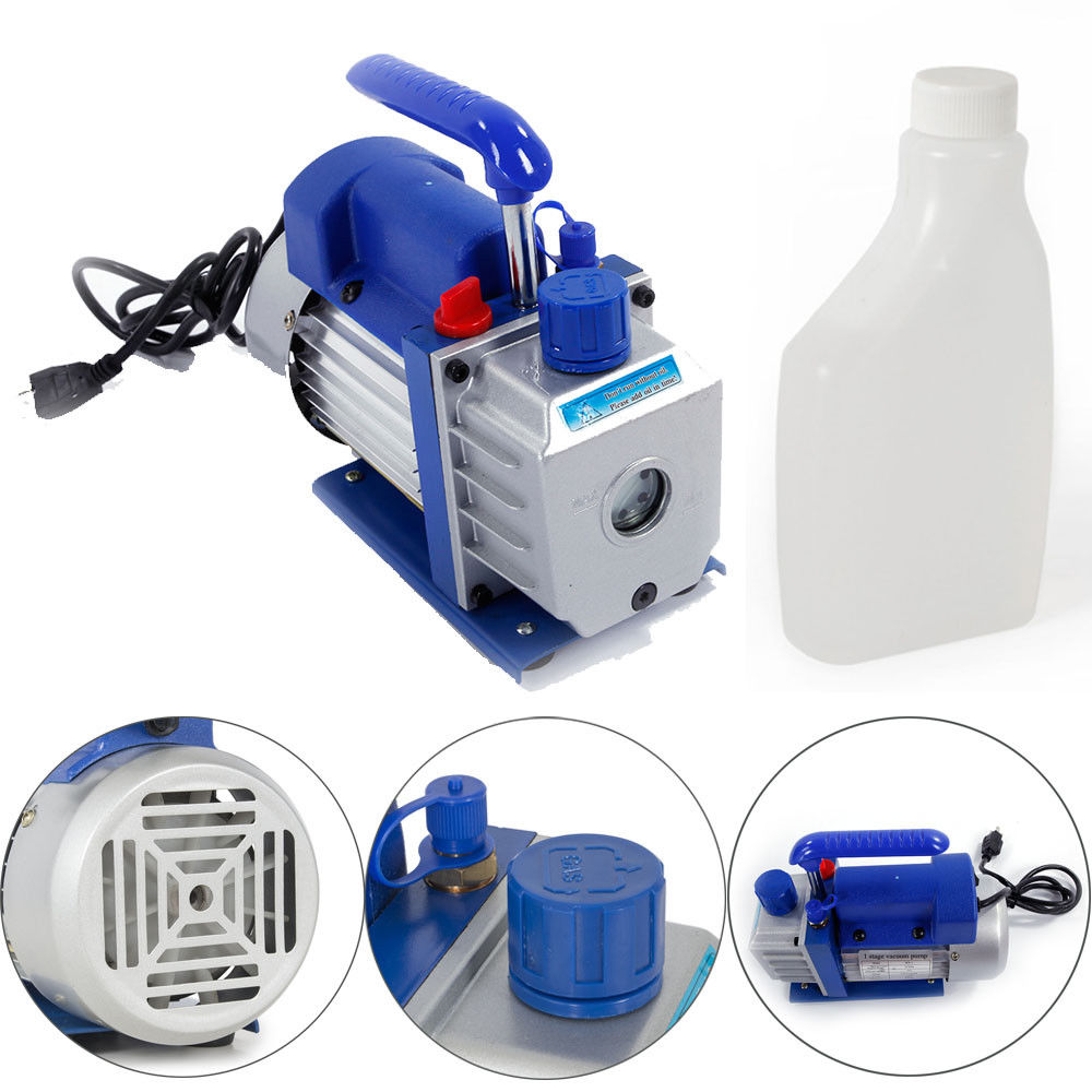 Ktaxon 3CFM HVAC Vacuum Pump, 1/4 HP Portable Electric Rotary Vane A/C HVAC Single Stage Air Conditioning Deep Small Refrigerant Evacuation / Suction Pump System, for Industrial Laboratory