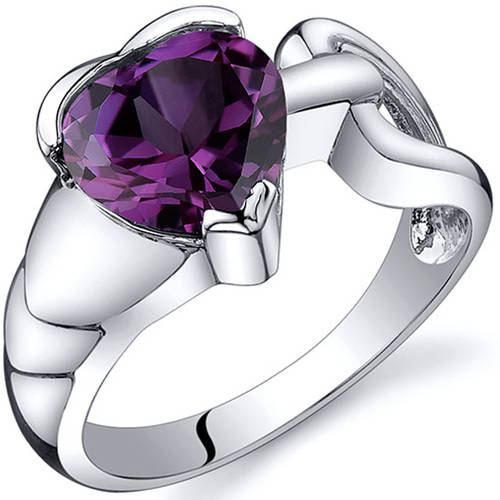 Oravo 2.50 Carat T.G.W. Created Alexandrite Rhodium-Plated Sterling Silver Engagement Ring
