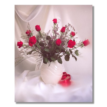 Red Stem Rose Flower Bouquet in White Vase Photo Wall Picture 8x10 Art Print