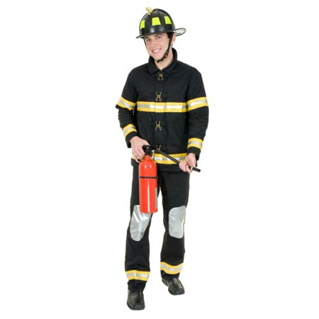 Adult Men's Black Firefighter Fireman Bunker Gear Costume