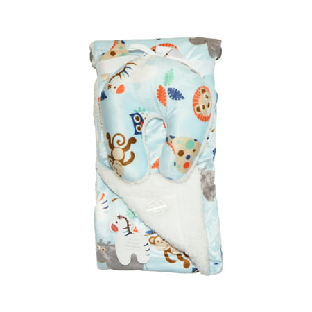 Reversible Animal Pillow : Reversible Baby Blanket with Travel U-Pillow: White and Blue with Animal Design - Walmart.com