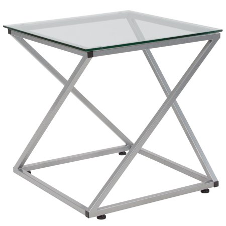 Flash Furniture Park Avenue Collection Glass End Table with Contemporary Steel Design Contemporary Glass Side Table