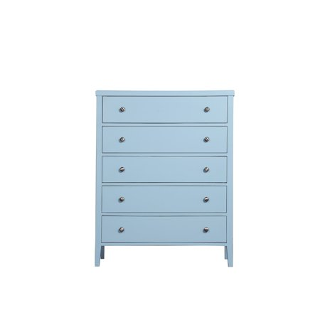 - Emerald Home Home Décor III Light Blue Dresser with Angled Wood Legs And Brushed Nickel Hardware, 5-drawer