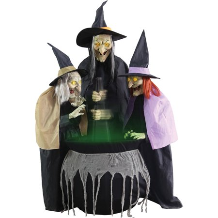 stitch witch sisters animated halloween decoration - Halloween Witch Decoration