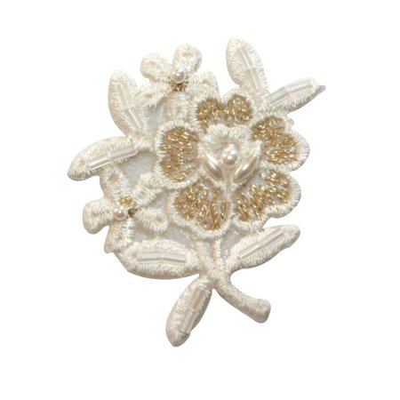 ID 6790 White Gold Beaded Flower Patch Garden Bunch Embroidered Iron On Applique
