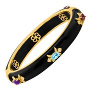 Fleur De Lis Bangle Bracelet with Multi-Gems in 18kt Gold-Plated Brass