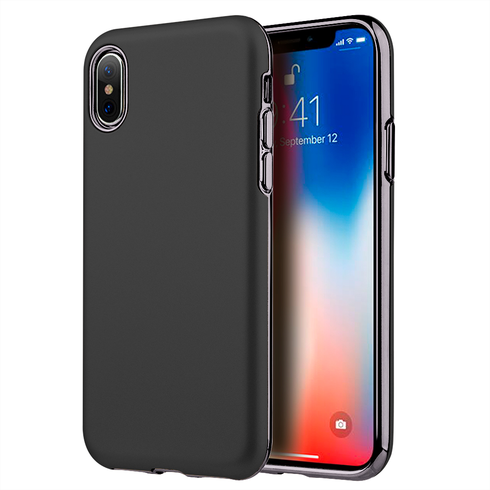 Phone Case for iPhone X Hybrid Case With Black Rubberized Pc Back Plate + Black Electroplated Tpu