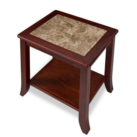 - Sleeplanner Cherry Natural Marble Top Brown Solid Wood End Table