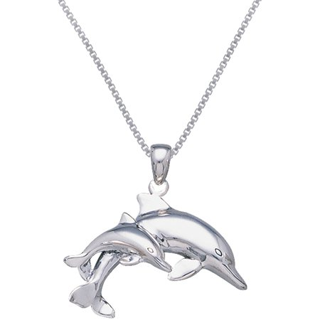 Baby Box Chain Necklace (Sterling Silver Mother and Baby Dolphin Pendant on 18 Inch Box Chain Necklace )