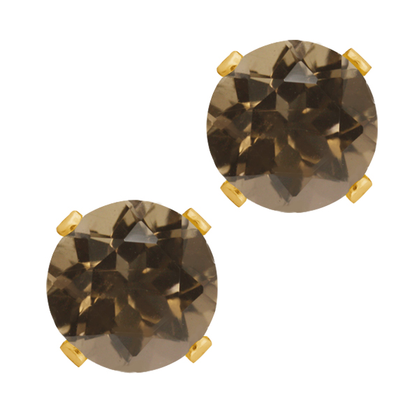 0.92 Ct Round Shape Brown Smoky Quartz Yellow Gold Plated Silver Stud Earrings