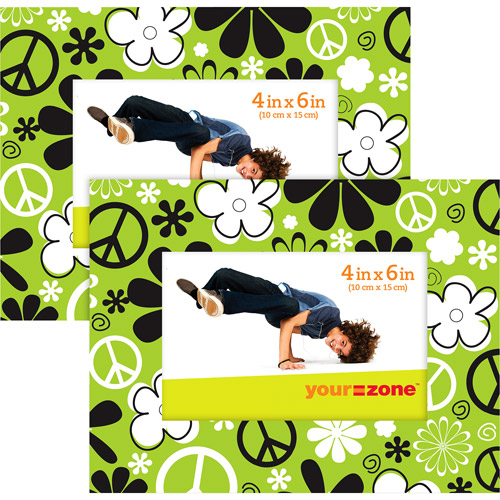your zone 4x6 green peace picture frame, green