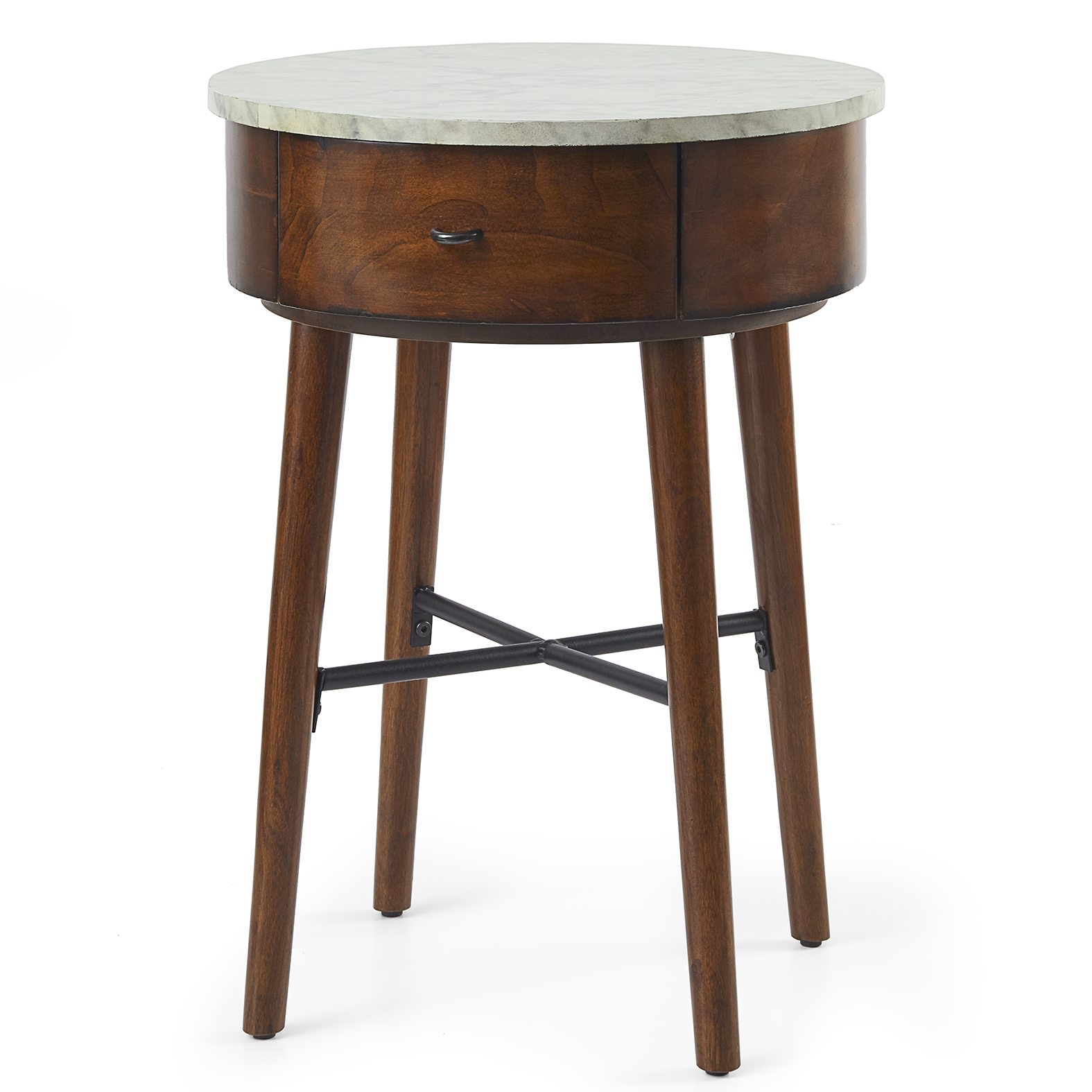 wood wooden round accent table sofa couch side end drawer storage modern living 81438480381 ebay. Black Bedroom Furniture Sets. Home Design Ideas