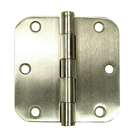 Stainless Steel Door Hinges 3.5 Inches with 5/8 Inch Radius - Highly Rust Resistant - Non Removable Pin - 2 Pack