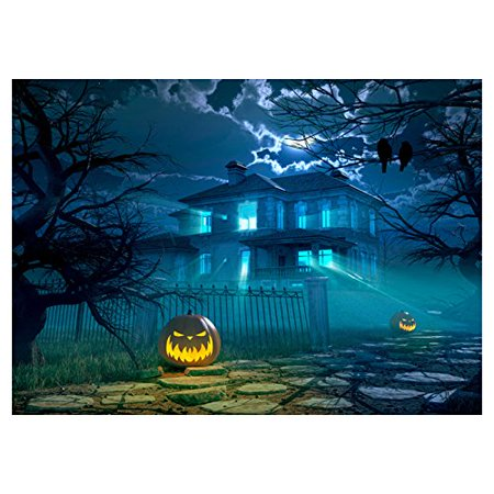 ABPHOTO Polyester Photography Background Photo Backdrops Magic Theme Gloomy castle stone road pumpkin lights tree crows for Halloween 7x5ft - The Halloween Tree Pumpkin