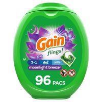 Gain Flings Liquid Laundry Detergent, Moonlight Breeze Scent, 96 Count, HE Compatible