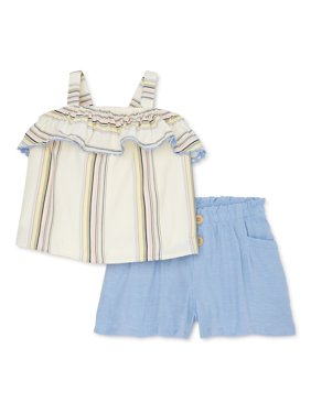 Wonder Nation Baby Girls & Toddlers Girl Ruffle Tank Top & Shorts, 2pc Outfit Set (12M-5T)