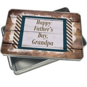 Christmas Cookie Tin Happy Father's Day, Grandpa Father's Day Navy Blue and Army Green Border for Gift Giving Empty Candy Snack Pastry Treat Swap Box Cerebrate a Holiday