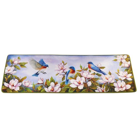Colorful Blooming Magnolia Bird Runner Rug with Skid-Resistant Backing - Spring Decorative Accent for Any Room in Home