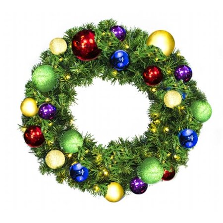 Pre-Lit Warm White LED Sequoia Wreath Decorated With The Royal Ornament Collection - image 1 de 1